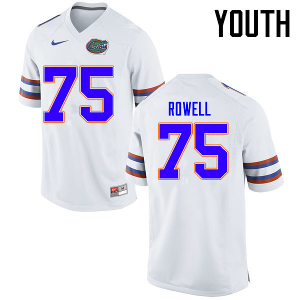 Youth Florida Gators #75 Tanner Rowell College Football Jerseys Sale-White