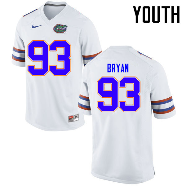 Youth Florida Gators #93 Taven Bryan College Football Jerseys Sale-White