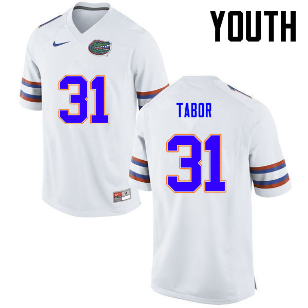 Youth Florida Gators #31 Teez Tabor College Football Jerseys-White