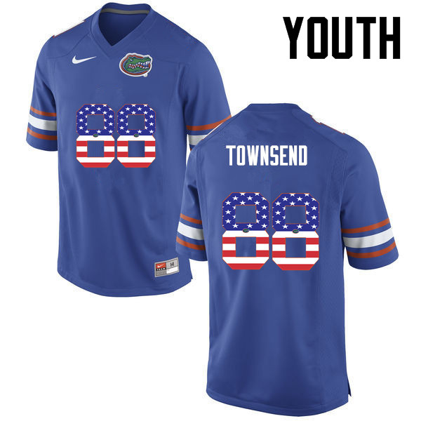 Youth Florida Gators #88 Tommy Townsend College Football USA Flag Fashion Jerseys-Blue