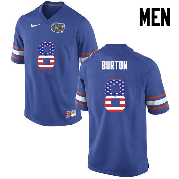 Men Florida Gators #8 Trey Burton College Football USA Flag Fashion Jerseys-Blue