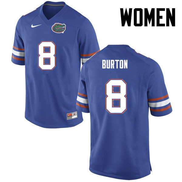 Women Florida Gators #8 Trey Burton College Football Jerseys-Blue