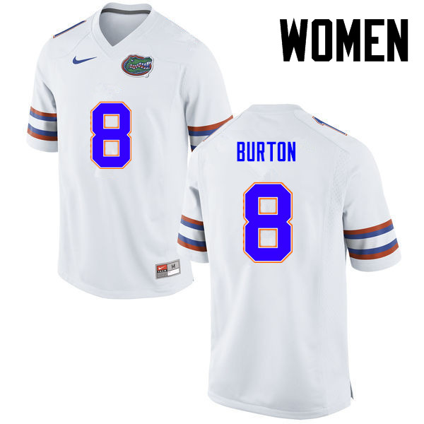 Women Florida Gators #8 Trey Burton College Football Jerseys-White