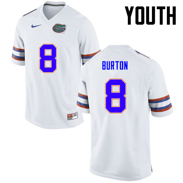 Youth Florida Gators #8 Trey Burton College Football Jerseys-White
