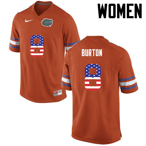 Women Florida Gators #8 Trey Burton College Football USA Flag Fashion Jerseys-Orange