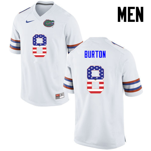 Men Florida Gators #8 Trey Burton College Football USA Flag Fashion Jerseys-White
