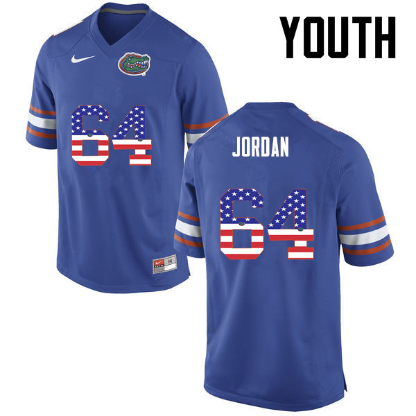 Youth Florida Gators #64 Tyler Jordan College Football USA Flag Fashion Jerseys-Blue