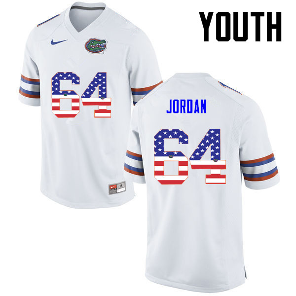 Youth Florida Gators #64 Tyler Jordan College Football USA Flag Fashion Jerseys-White