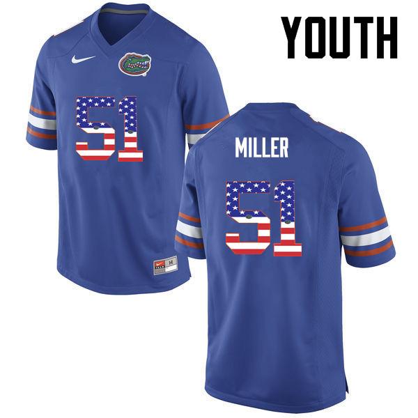 Youth Florida Gators #51 Ventrell Miller College Football USA Flag Fashion Jerseys-Blue