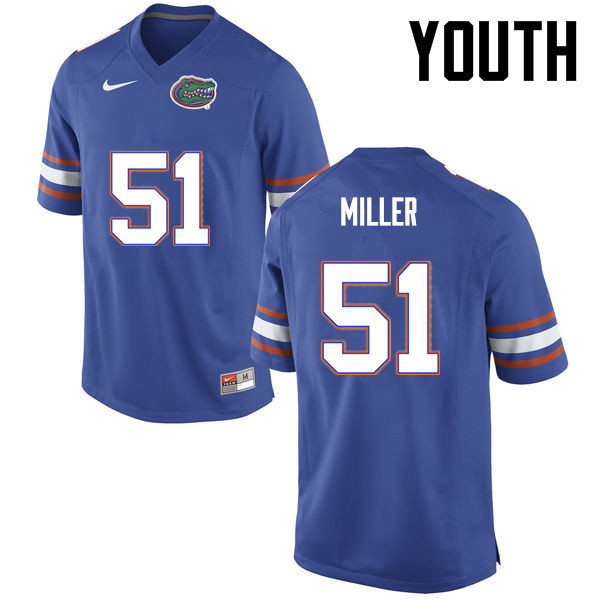 Youth Florida Gators #51 Ventrell Miller College Football Jerseys-Blue