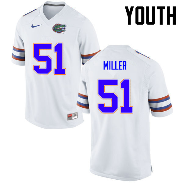 Youth Florida Gators #51 Ventrell Miller College Football Jerseys-White