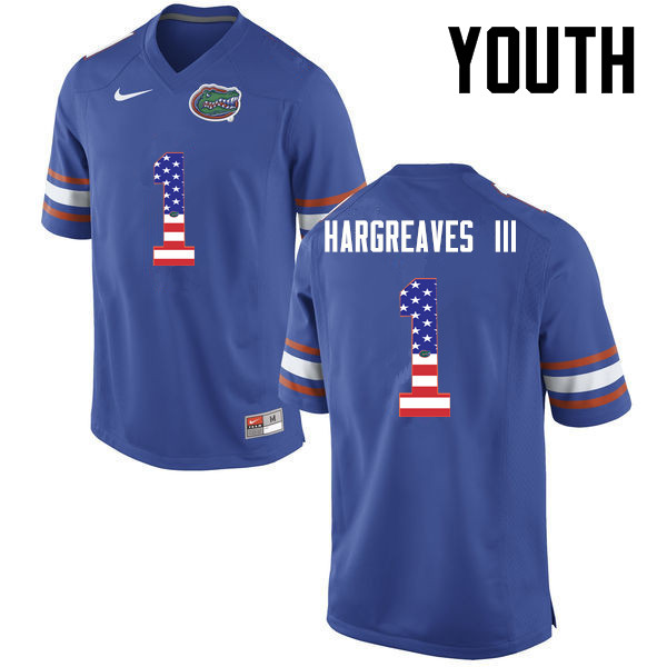 Youth Florida Gators #1 Vernon Hargreaves III College Football USA Flag Fashion Jerseys-Blue