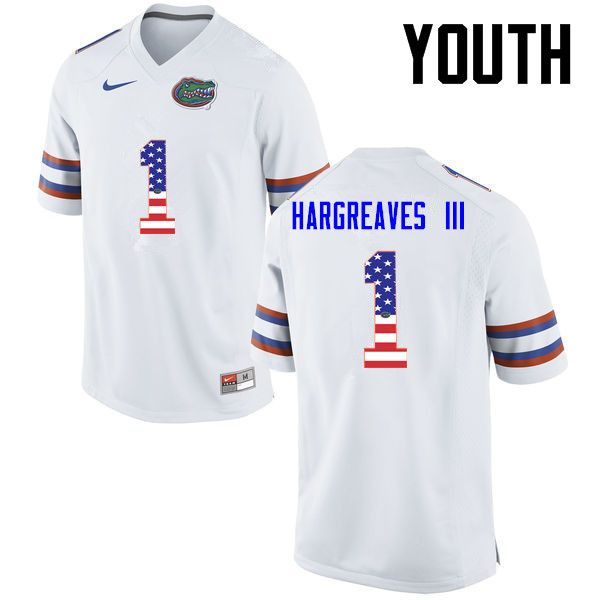 Youth Florida Gators #1 Vernon Hargreaves III College Football USA Flag Fashion Jerseys-White