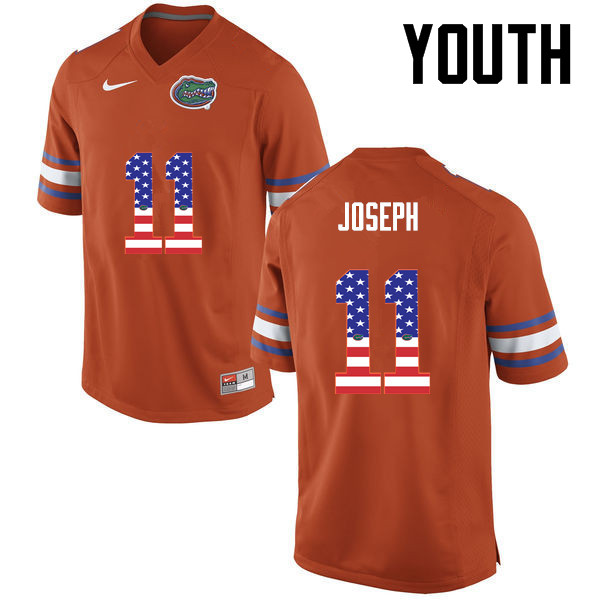 Youth Florida Gators #11 Vosean Joseph College Football USA Flag Fashion Jerseys-Orange