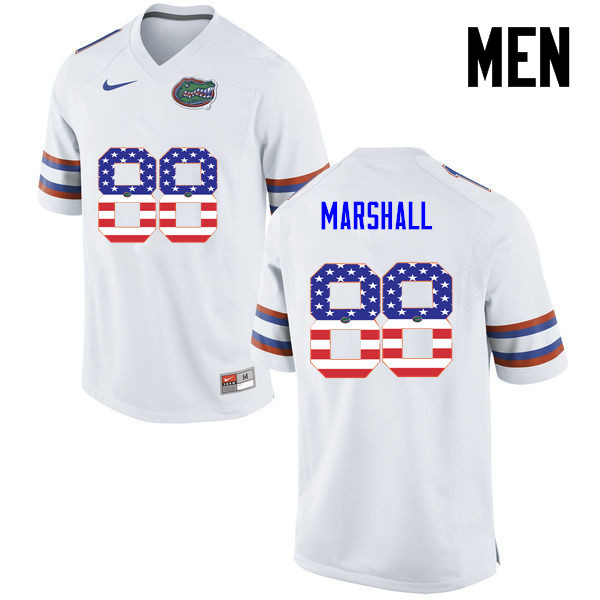 Men Florida Gators #88 Wilber Marshall College Football USA Flag Fashion Jerseys-White