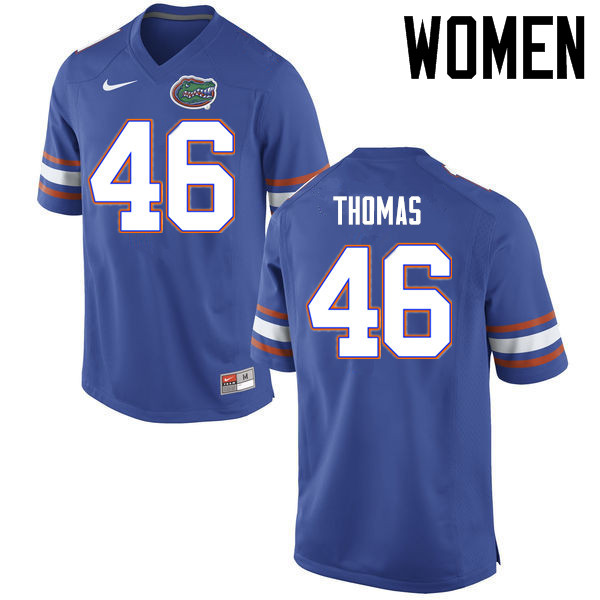 Women Florida Gators #46 Will Thomas College Football Jerseys Sale-Blue
