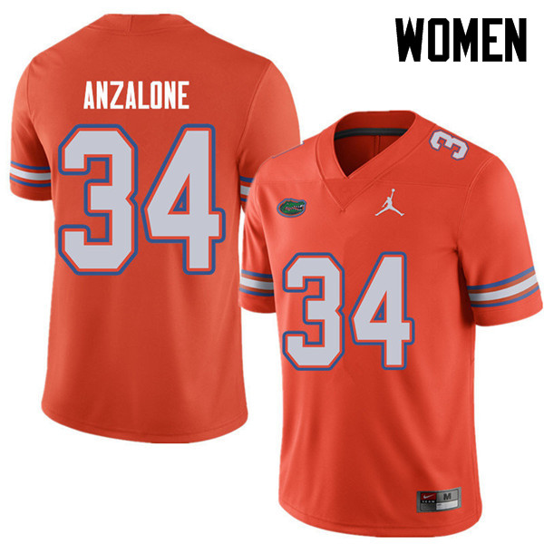 Jordan Brand Women #34 Alex Anzalone Florida Gators College Football Jerseys Sale-Orange