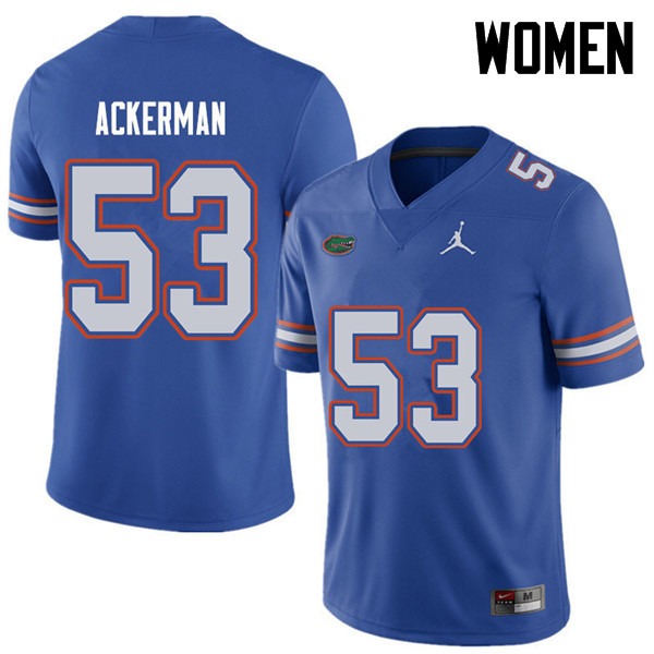 Jordan Brand Women #53 Brendan Ackerman Florida Gators College Football Jerseys Sale-Royal