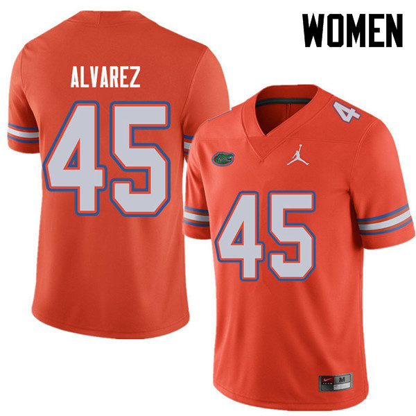 Jordan Brand Women #45 Carlos Alvarez Florida Gators College Football Jerseys Sale-Orange