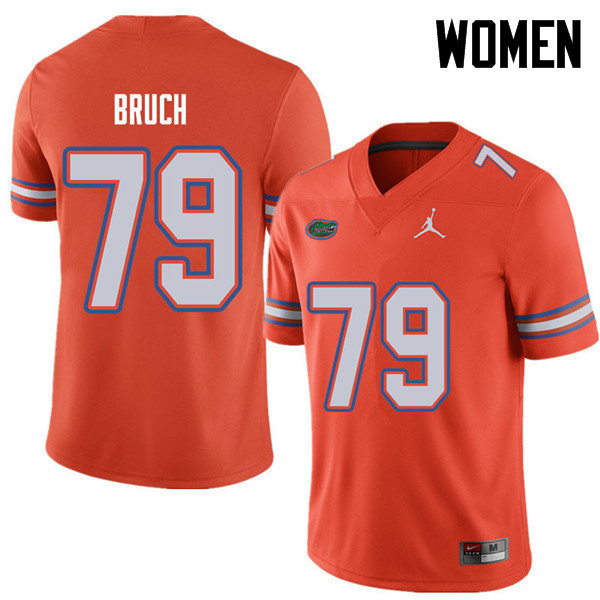Jordan Brand Women #79 Dallas Bruch Florida Gators College Football Jerseys Sale-Orange