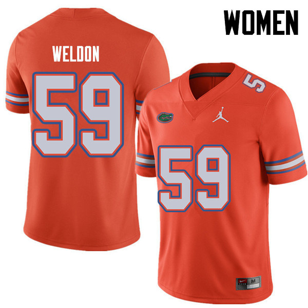 Jordan Brand Women #59 Danny Weldon Florida Gators College Football Jerseys Sale-Orange