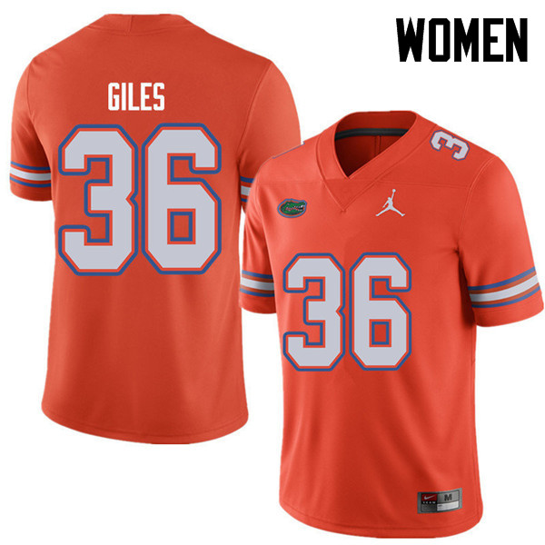 Jordan Brand Women #36 Eddie Giles Florida Gators College Football Jerseys Sale-Orange