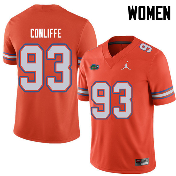 Jordan Brand Women #93 Elijah Conliffe Florida Gators College Football Jerseys Sale-Orange