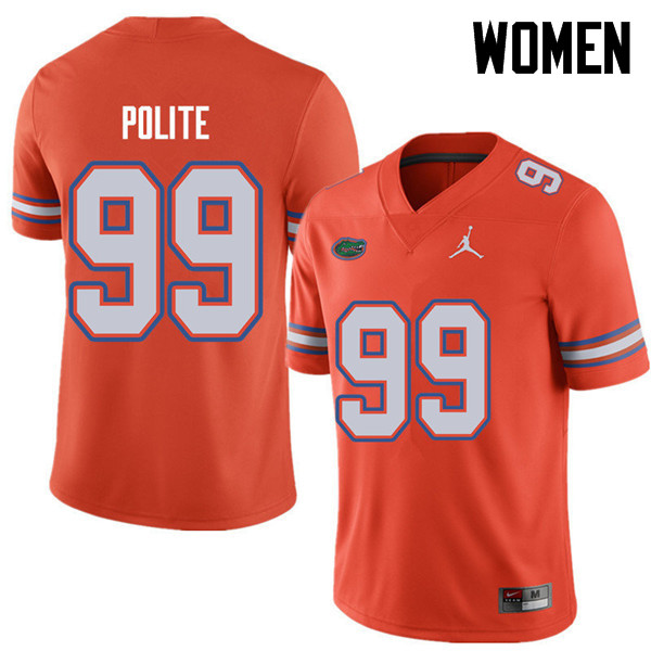 Jordan Brand Women #99 Jachai Polite Florida Gators College Football Jerseys Sale-Orange
