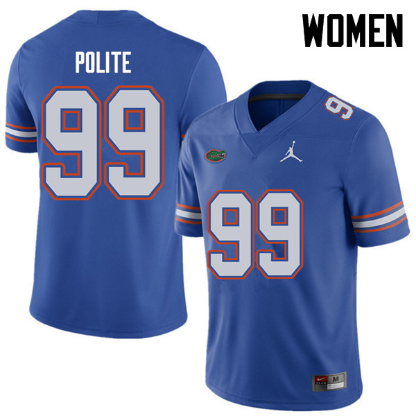 Jordan Brand Women #99 Jachai Polite Florida Gators College Football Jerseys Sale-Royal