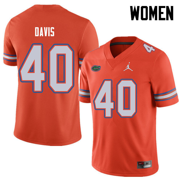 Jordan Brand Women #40 Jarrad Davis Florida Gators College Football Jerseys Sale-Orange