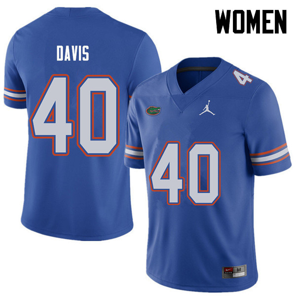 Jordan Brand Women #40 Jarrad Davis Florida Gators College Football Jerseys Sale-Royal