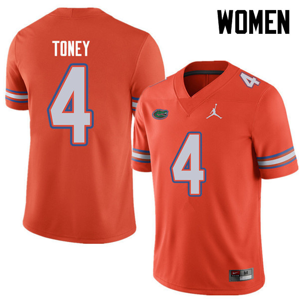 Jordan Brand Women #4 Kadarius Toney Florida Gators College Football Jerseys Sale-Orange
