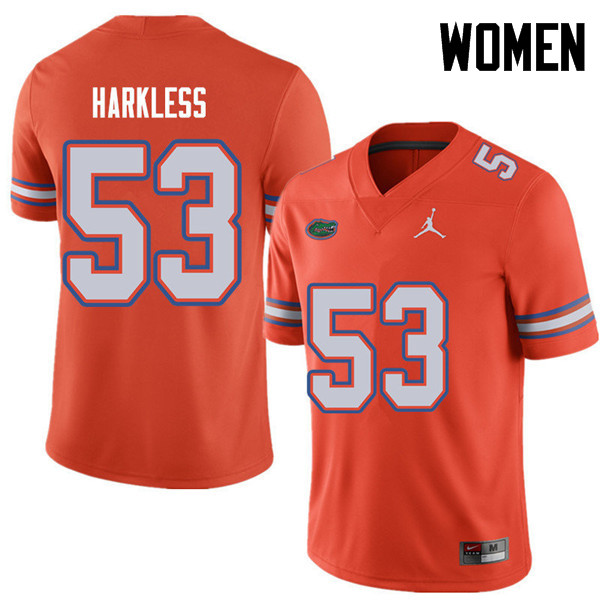 Jordan Brand Women #53 Kavaris Harkless Florida Gators College Football Jerseys Sale-Orange