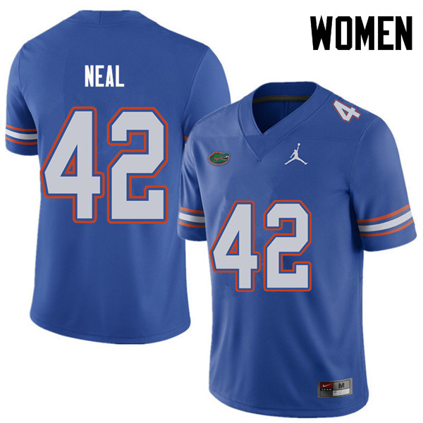 Jordan Brand Women #42 Keanu Neal Florida Gators College Football Jerseys Sale-Royal