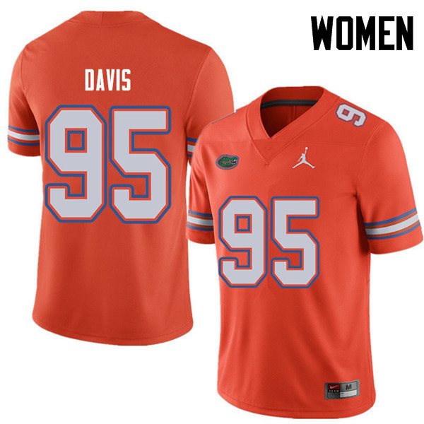 Jordan Brand Women #95 Keivonnis Davis Florida Gators College Football Jerseys Sale-Orange