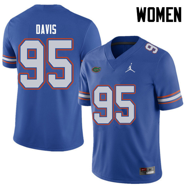 Jordan Brand Women #95 Keivonnis Davis Florida Gators College Football Jerseys Sale-Royal