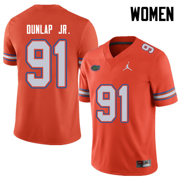 Jordan Brand Women #91 Marlon Dunlap Jr. Florida Gators College Football Jerseys Sale-Orange