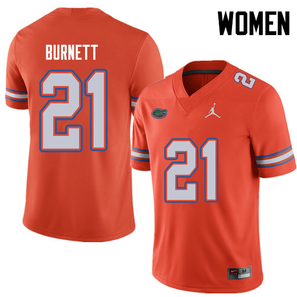 Jordan Brand Women #21 McArthur Burnett Florida Gators College Football Jerseys Sale-Orange