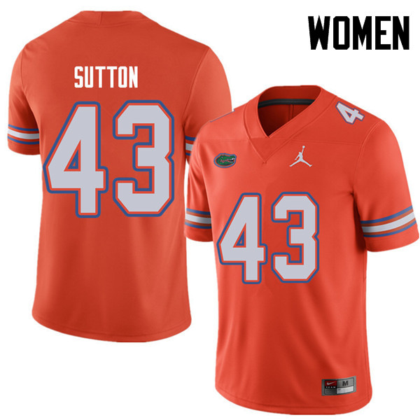 Jordan Brand Women #43 Nicolas Sutton Florida Gators College Football Jerseys Sale-Orange