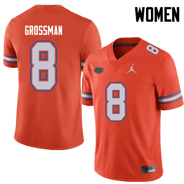 Jordan Brand Women #8 Rex Grossman Florida Gators College Football Jerseys Sale-Orange