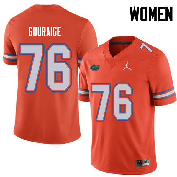 Jordan Brand Women #76 Richard Gouraige Florida Gators College Football Jerseys Sale-Orange