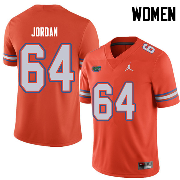 Jordan Brand Women #64 Tyler Jordan Florida Gators College Football Jerseys Sale-Orange