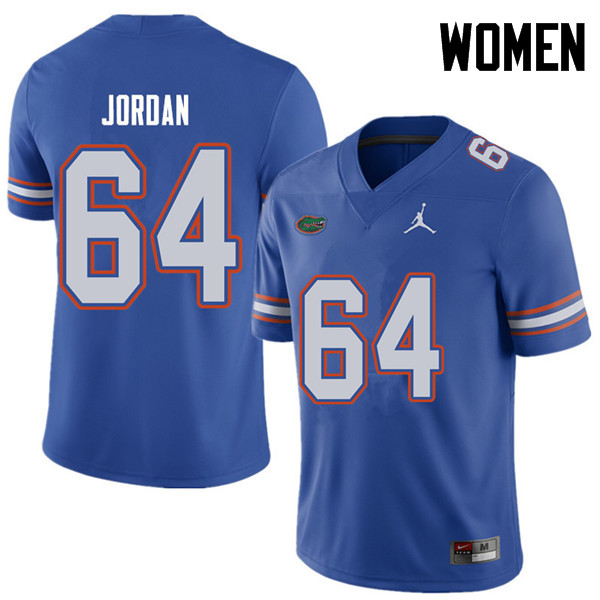 Jordan Brand Women #64 Tyler Jordan Florida Gators College Football Jerseys Sale-Royal