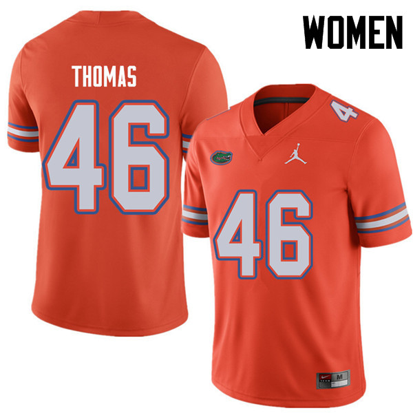 Jordan Brand Women #46 Will Thomas Florida Gators College Football Jerseys Sale-Orange