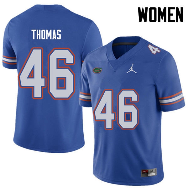Jordan Brand Women #46 Will Thomas Florida Gators College Football Jerseys Sale-Royal