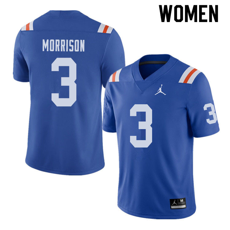 Jordan Brand Women #3 Antonio Morrison Florida Gators Throwback Alternate College Football Jerseys S