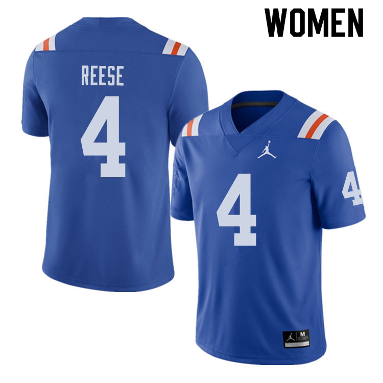 Jordan Brand Women #4 David Reese Florida Gators Throwback Alternate College Football Jerseys Sale-R