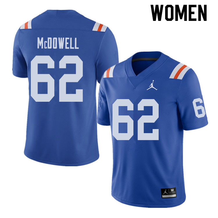 Jordan Brand Women #62 Griffin McDowell Florida Gators Throwback Alternate College Football Jerseys