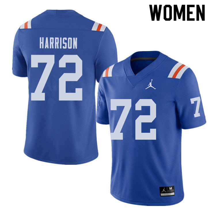 Jordan Brand Women #72 Jonotthan Harrison Florida Gators Throwback Alternate College Football Jersey