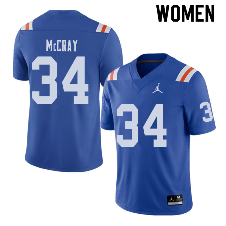 Jordan Brand Women #34 Lerentee McCray Florida Gators Throwback Alternate College Football Jerseys S